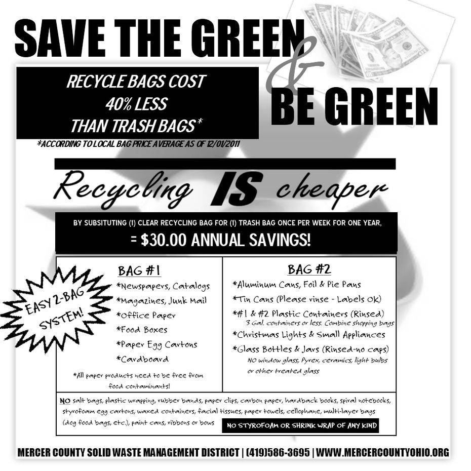 CHEAPER TO RECYCLE 1, Save the green and be green flyer