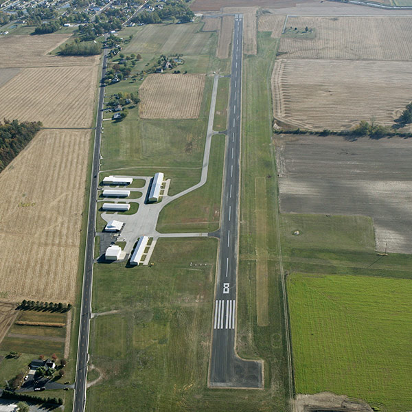 Lakefield Airport, aireal view of runways