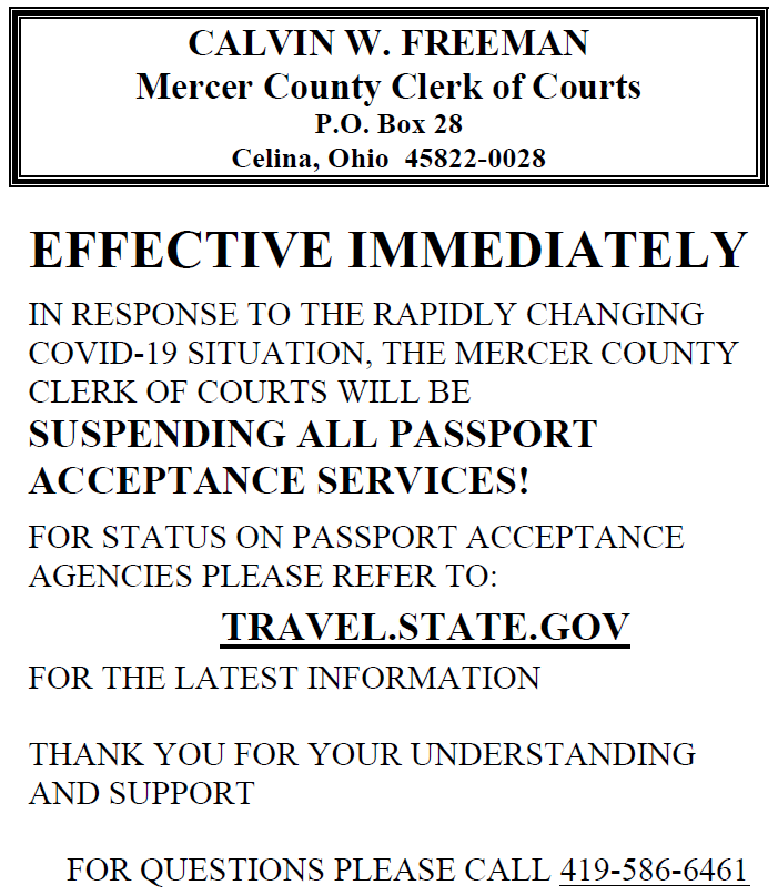 Passport Acceptance Services Suspended Due to COVID-19